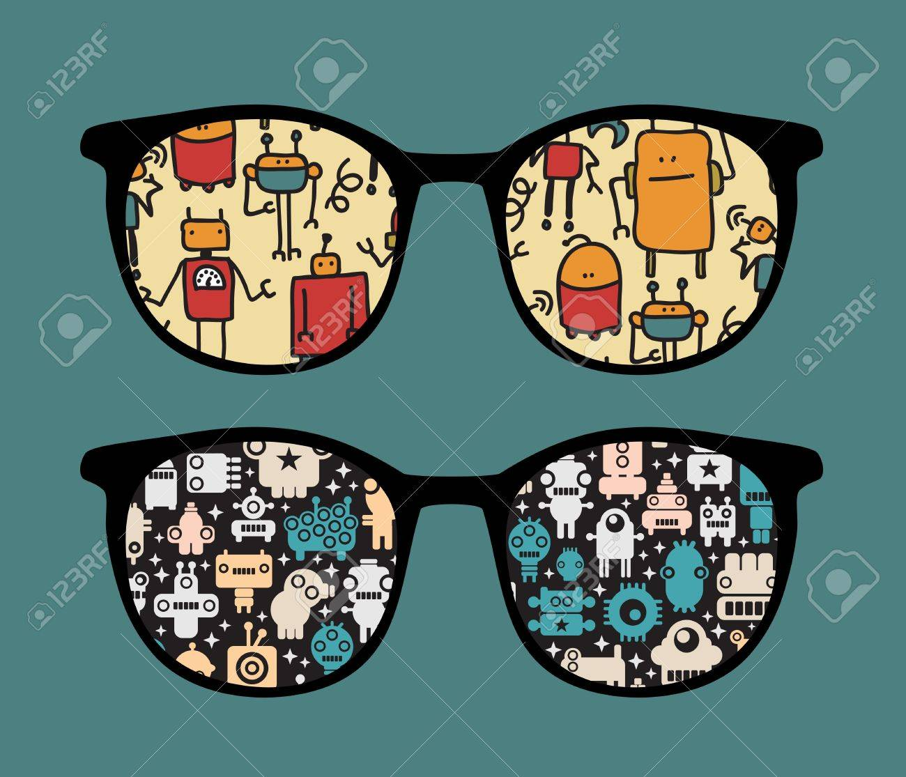 Retro sunglasses with robots pattern reflection in it. Stock Vector - 13285344