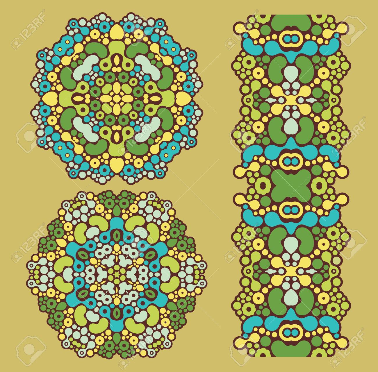 Decoration circles and psychedelic seamless pattern Stock Vector - 13476519