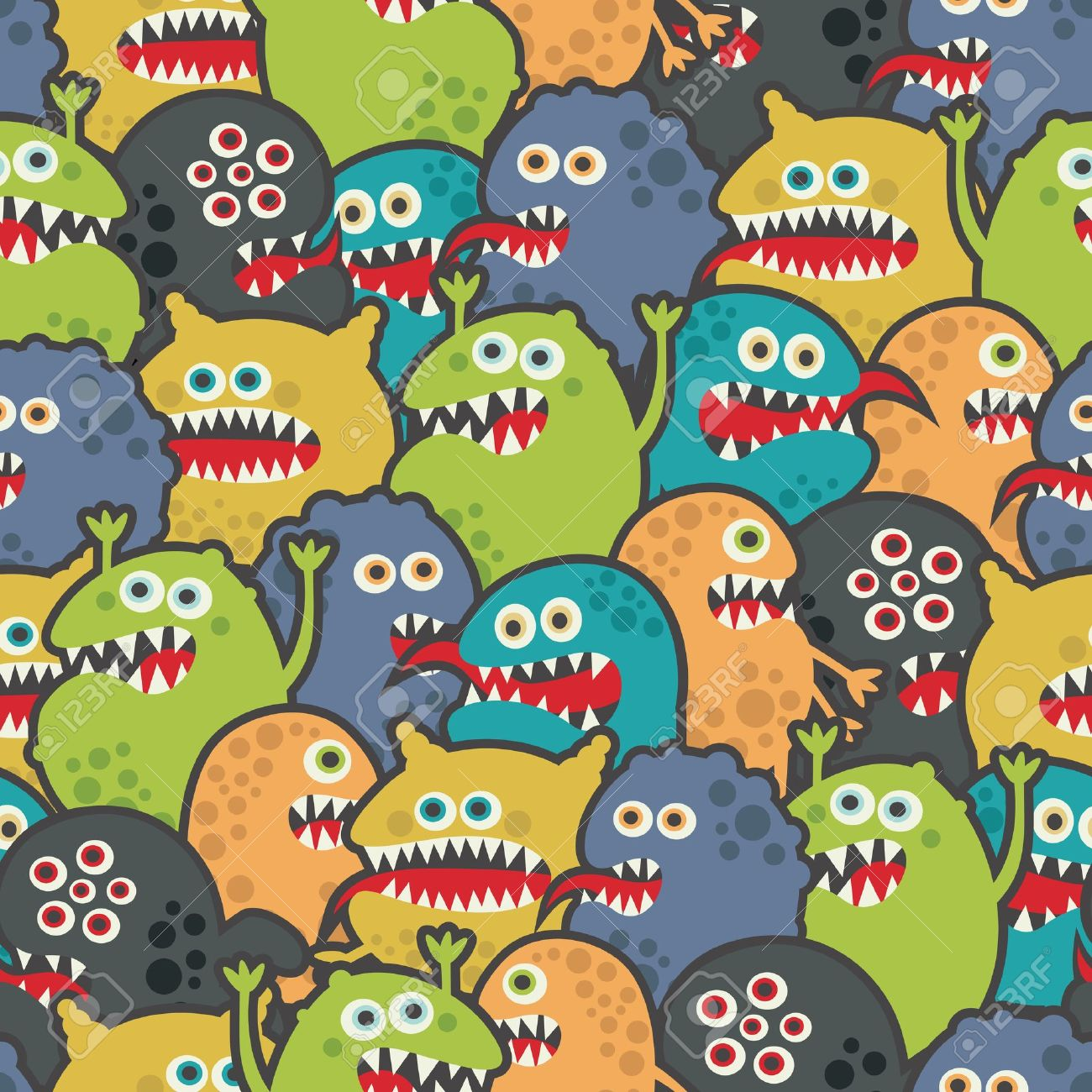 Cute monsters seamless texture. Stock Vector - 14620720