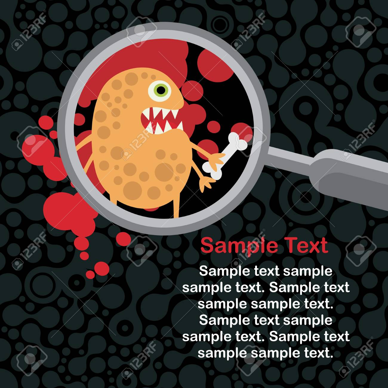 Magnifying glass and orange microbe in it. Stock Vector - 14753475