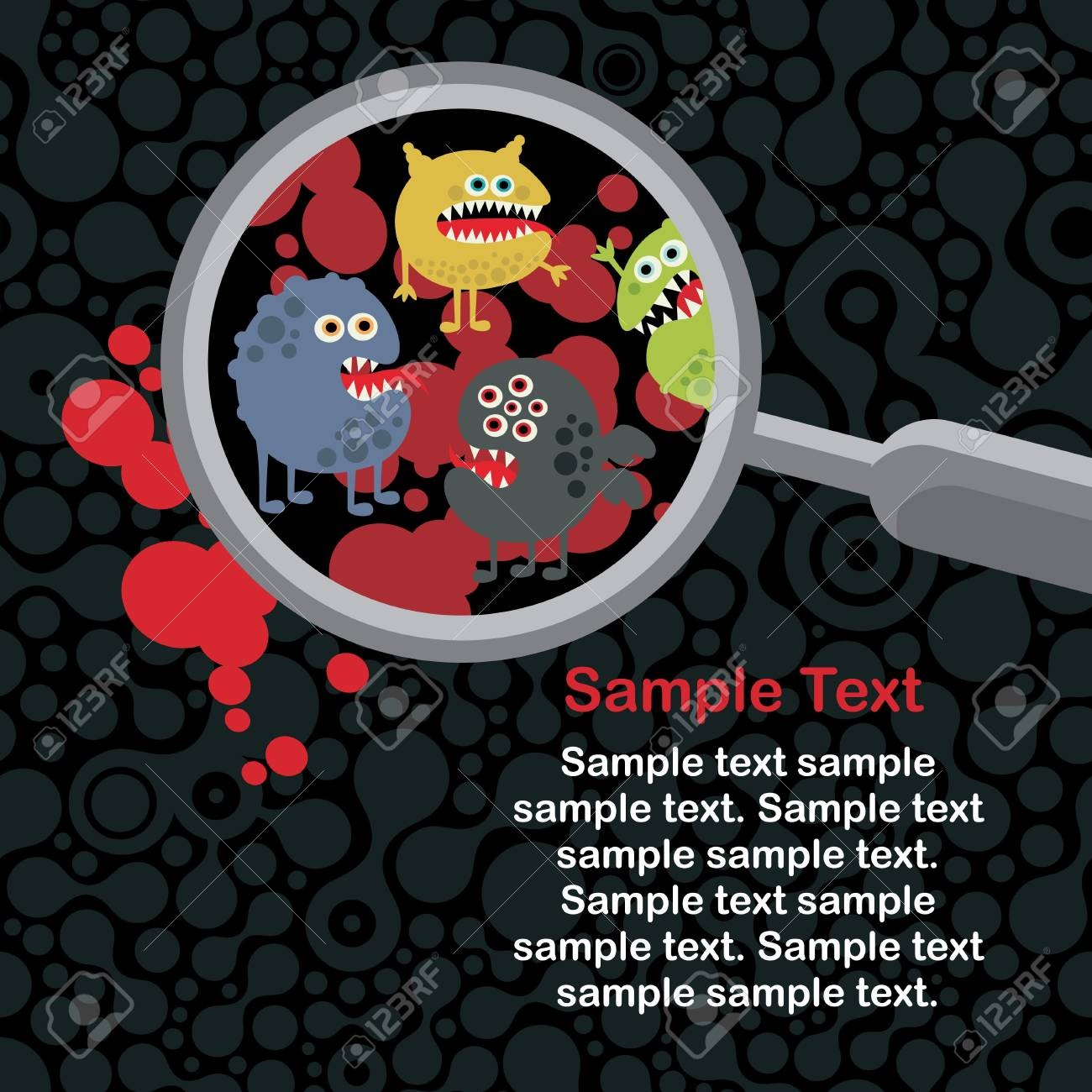 Magnifying glass and microbes in it. Stock Vector - 14753479