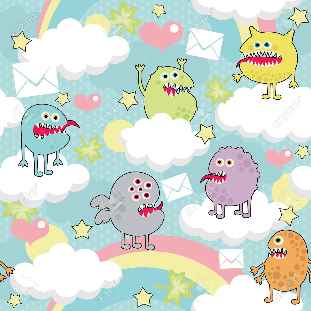 Cute monsters on clouds seamless texture with envelopes. Stock Vector - 14753482