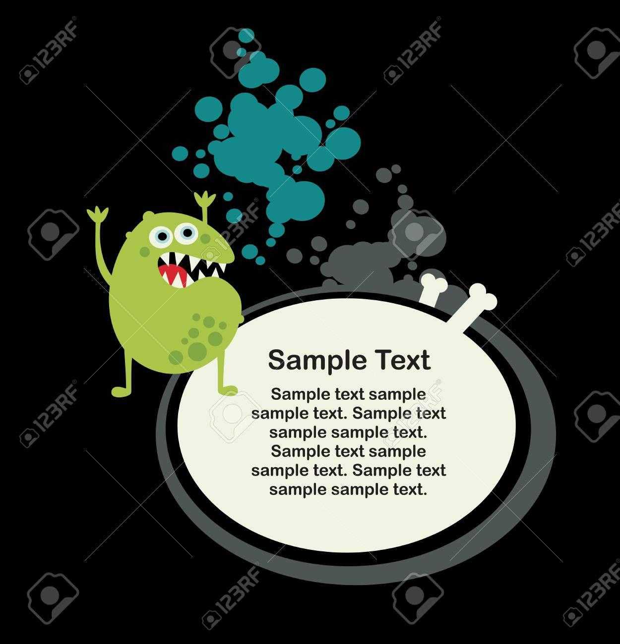 Cute monster microbe and banner with bone Stock Vector - 14841087