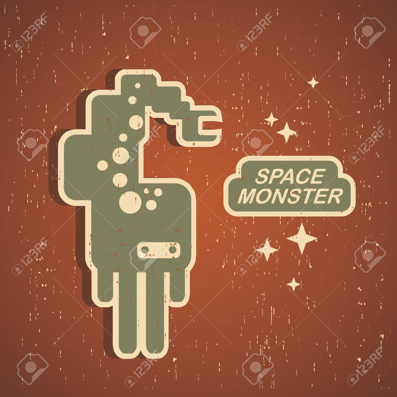 Vintage monster. Retro robot illustration Stock Vector - 14926526