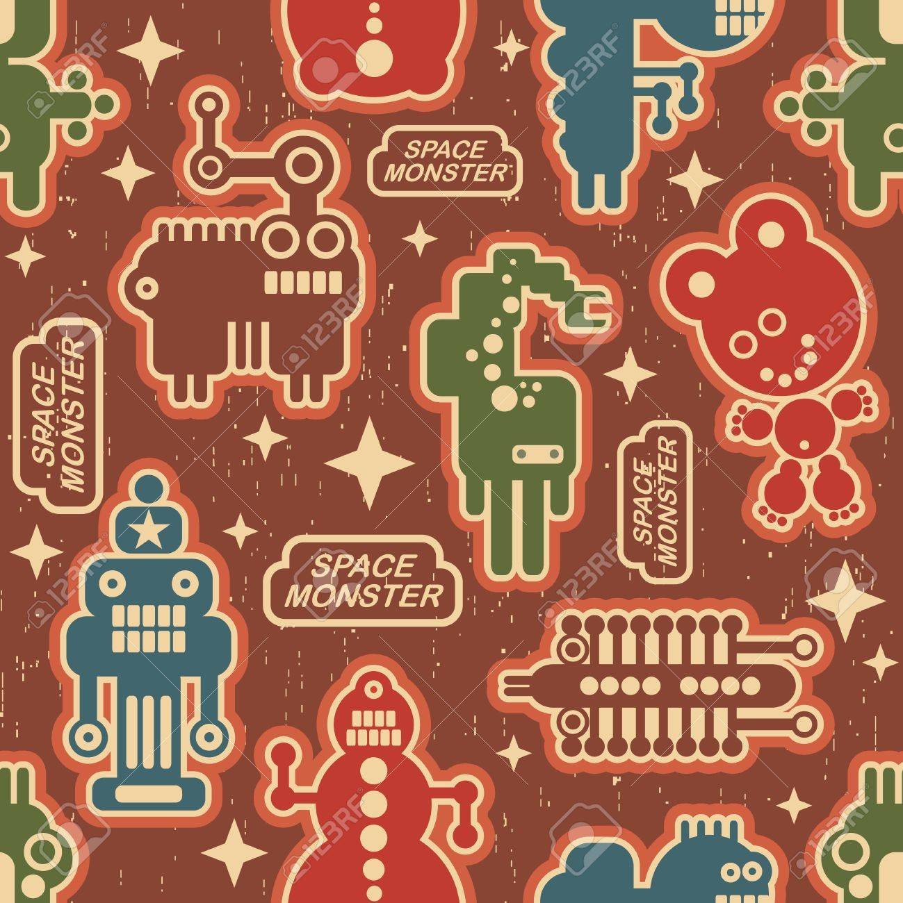 Vintage seamless texture with monsters and robots. Stock Vector - 14984835