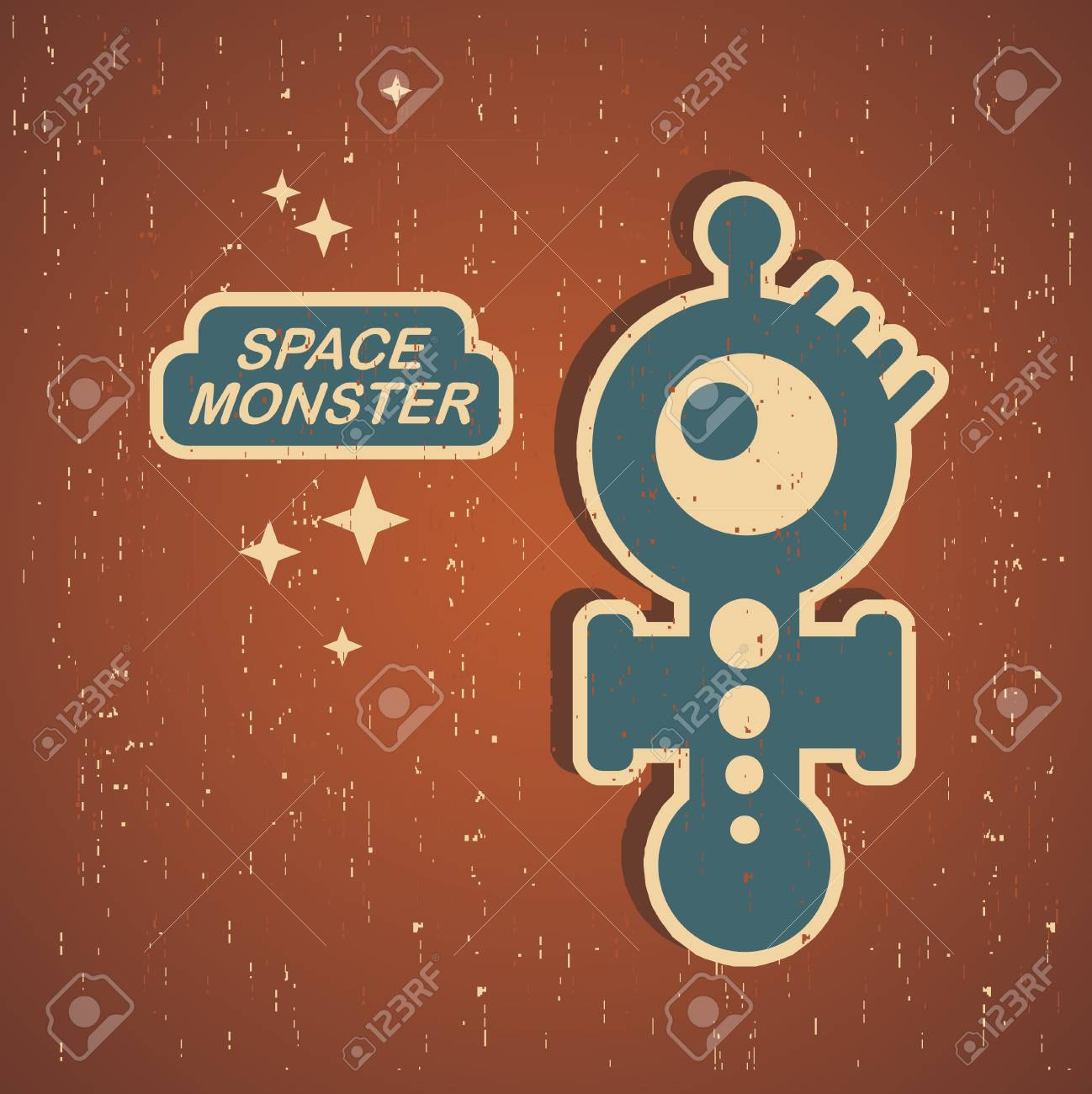 Vintage monster. Retro robot illustration Stock Vector - 15017024