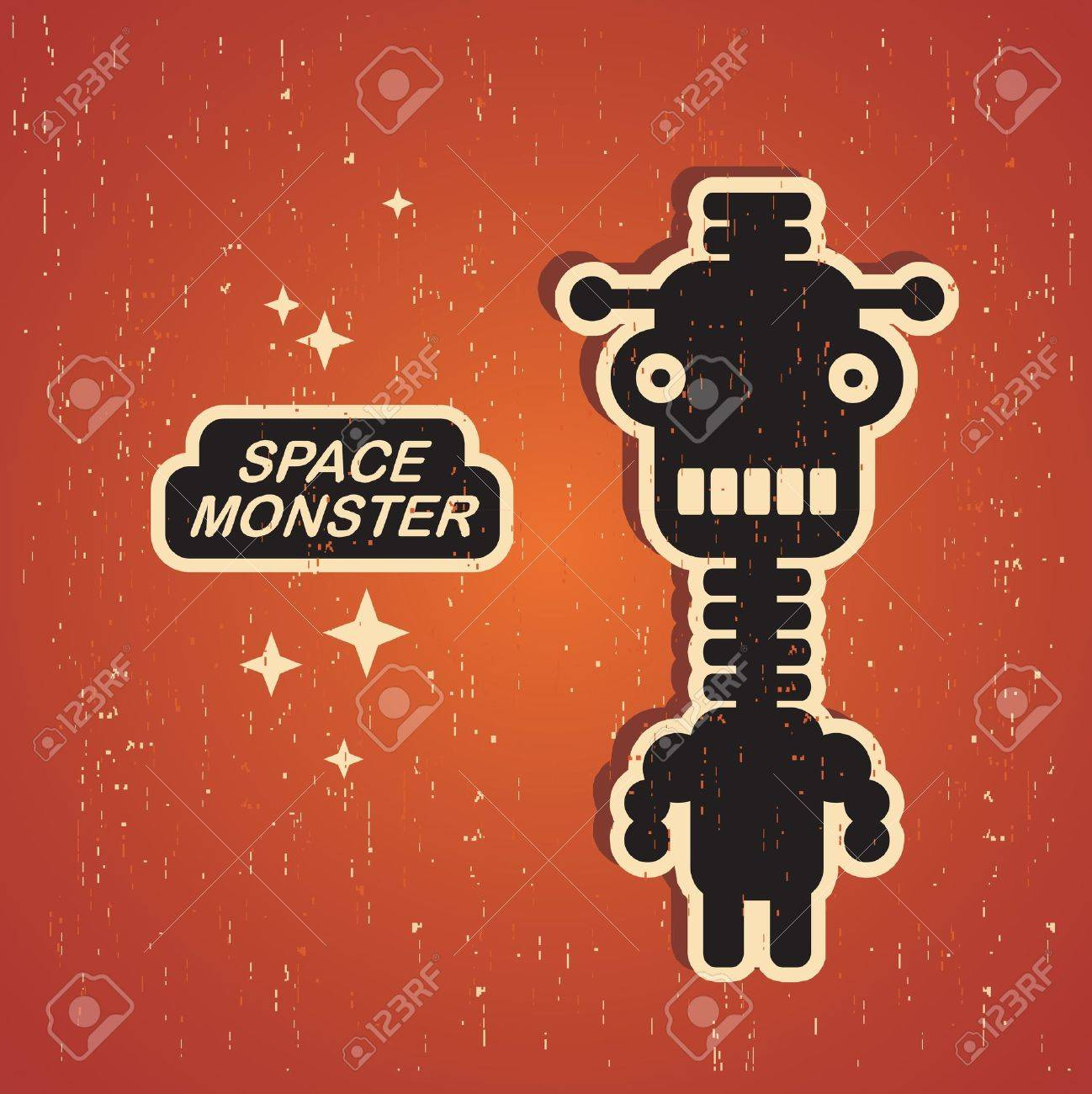 Vintage monster  Retro robot illustration Stock Vector - 15092985