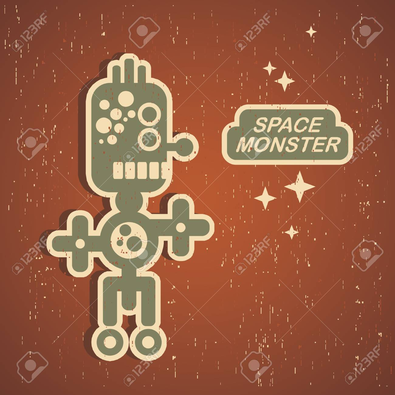 Retro monster. Vintage robot illustration Stock Vector - 15442203