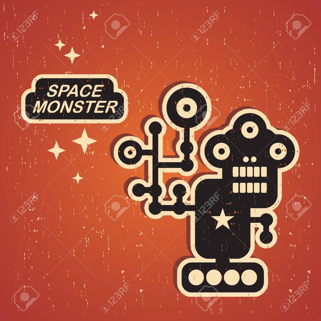 Retro monster. Vintage robot illustration in vector. Stock Vector - 15540818