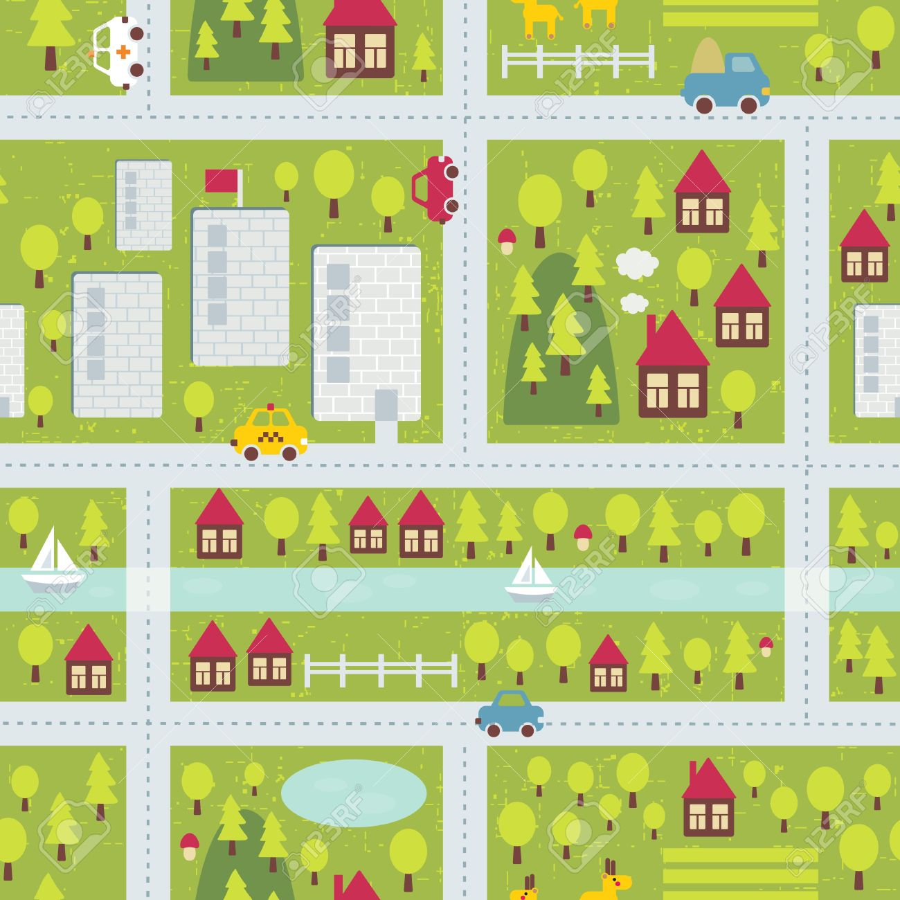 Cartoon map seamless pattern of small town and countryside. Stock Vector - 15588520