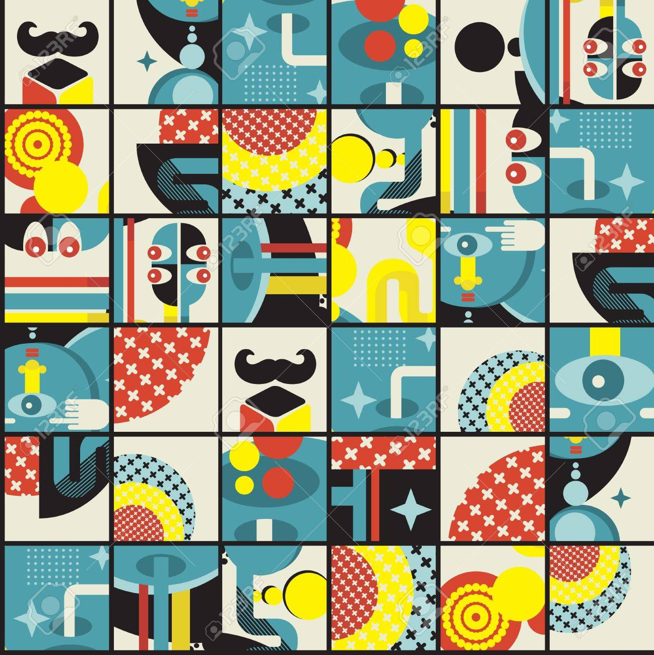 Abstract monsters pattern.  illustration in retro style. Stock Vector - 15691967
