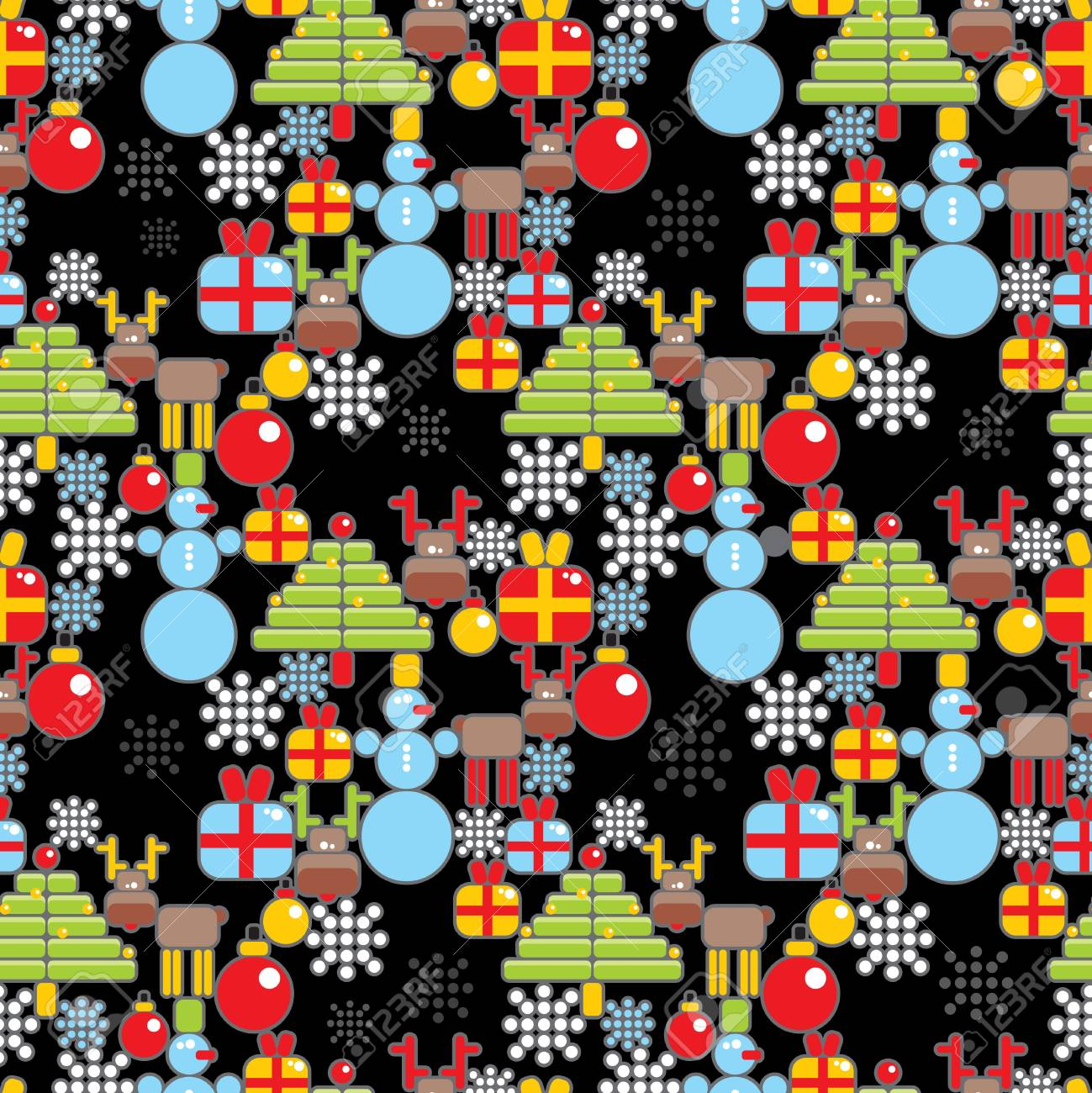 Seamless Christmas pattern in cell  Vector illustration Stock Vector - 20689031