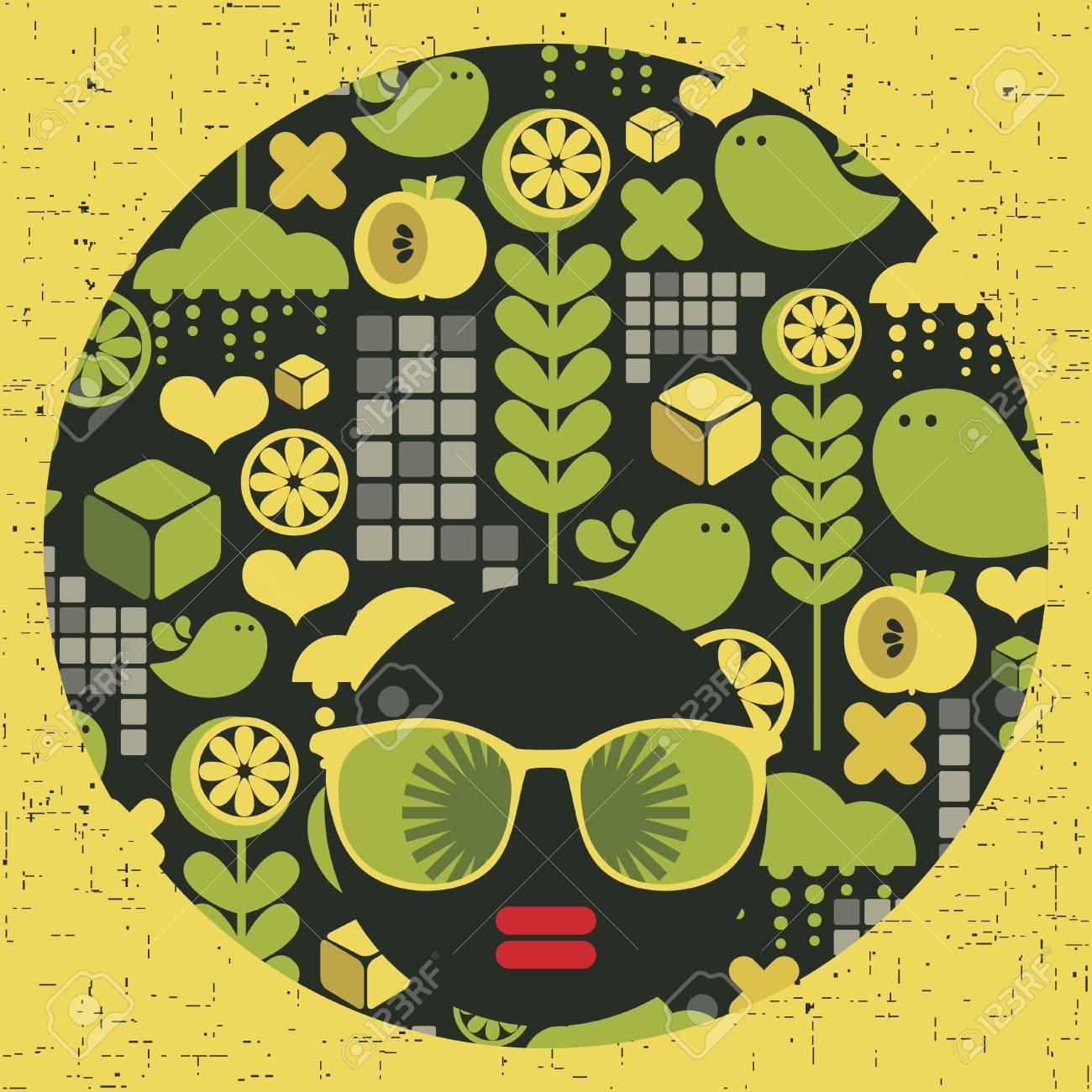 Black head woman with strange pattern hair  Vector illustration Stock Vector - 17000162