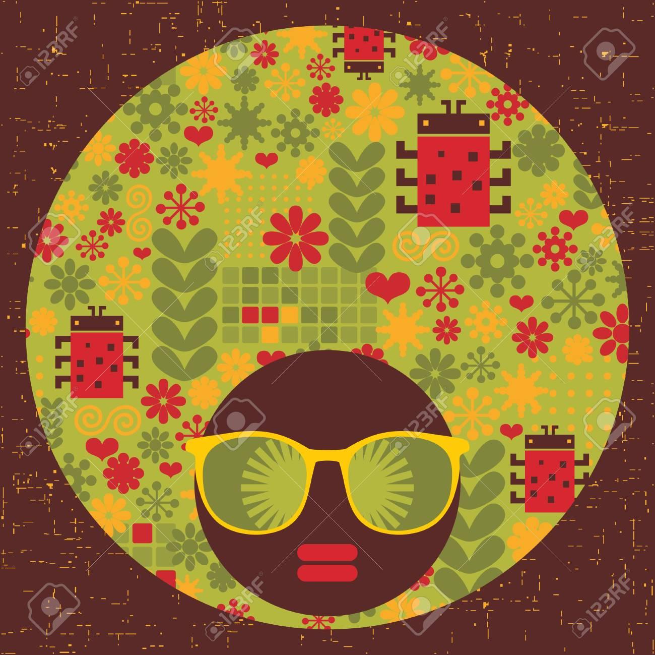 Black head woman with strange pattern hair  Vector illustration Stock Vector - 17000183
