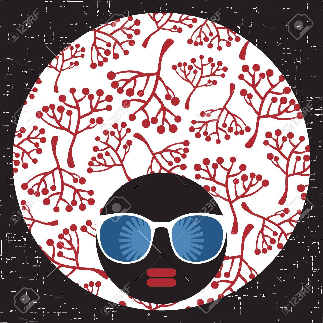 Black head woman with strange pattern hair  Vector illustration Stock Vector - 17000197