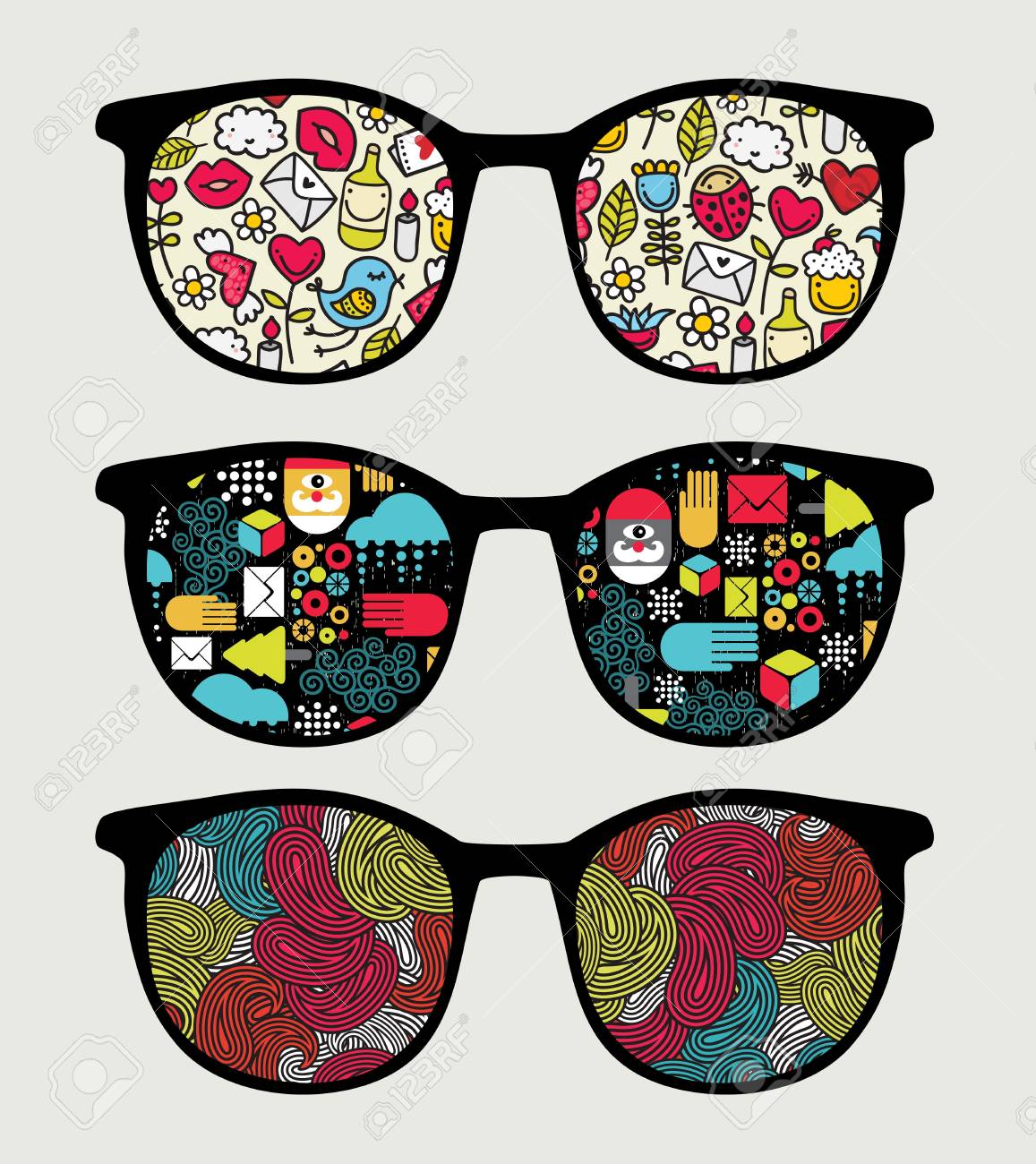 Retro sunglasses with reflection in it Stock Vector - 17533741