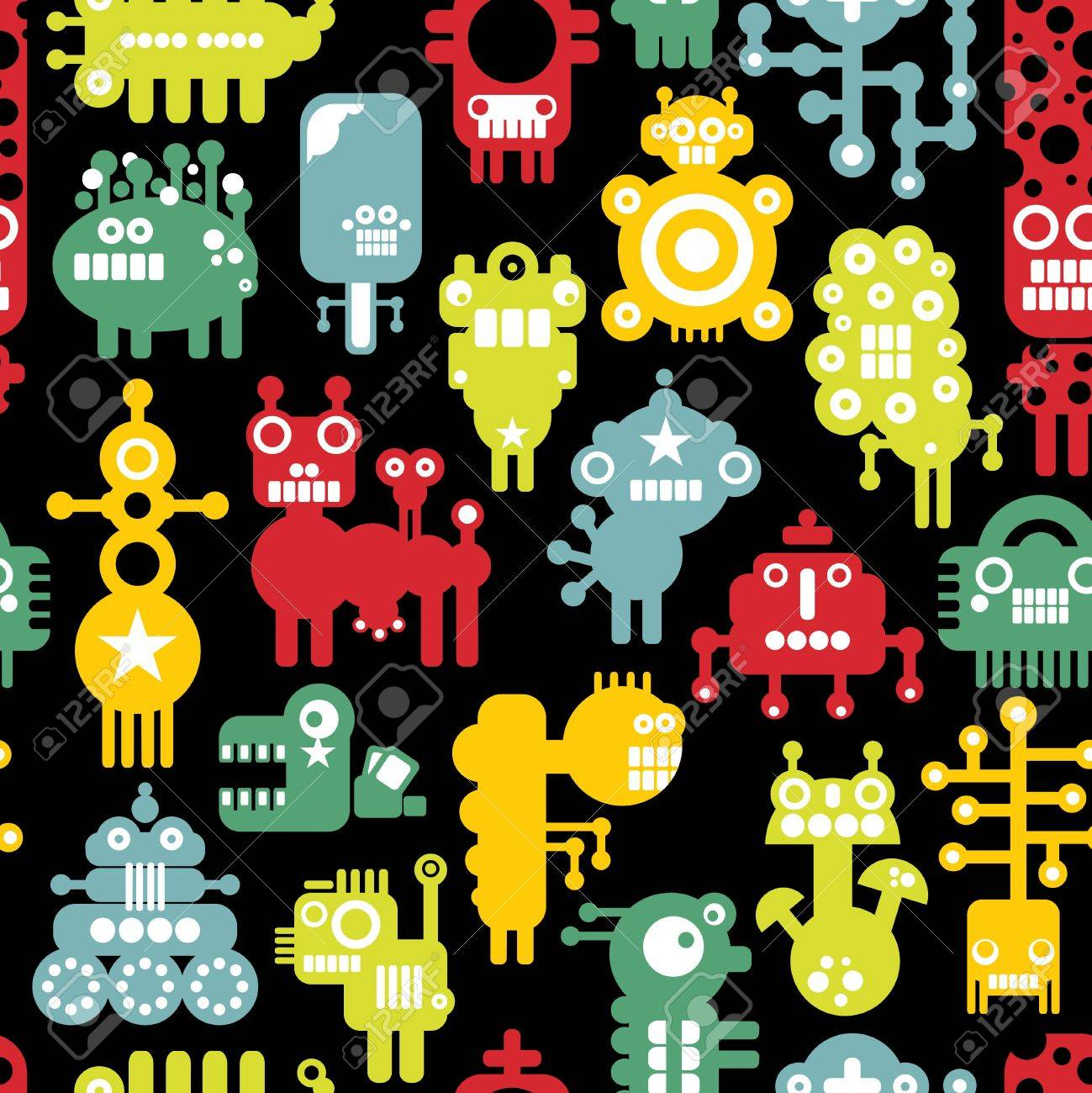 Robot and monsters cute seamless texture Stock Vector - 18623787