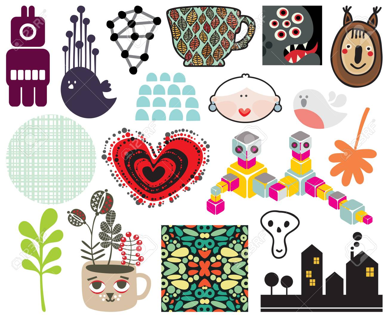 Mix of different images and icons  vol 67 Stock Vector - 21420137
