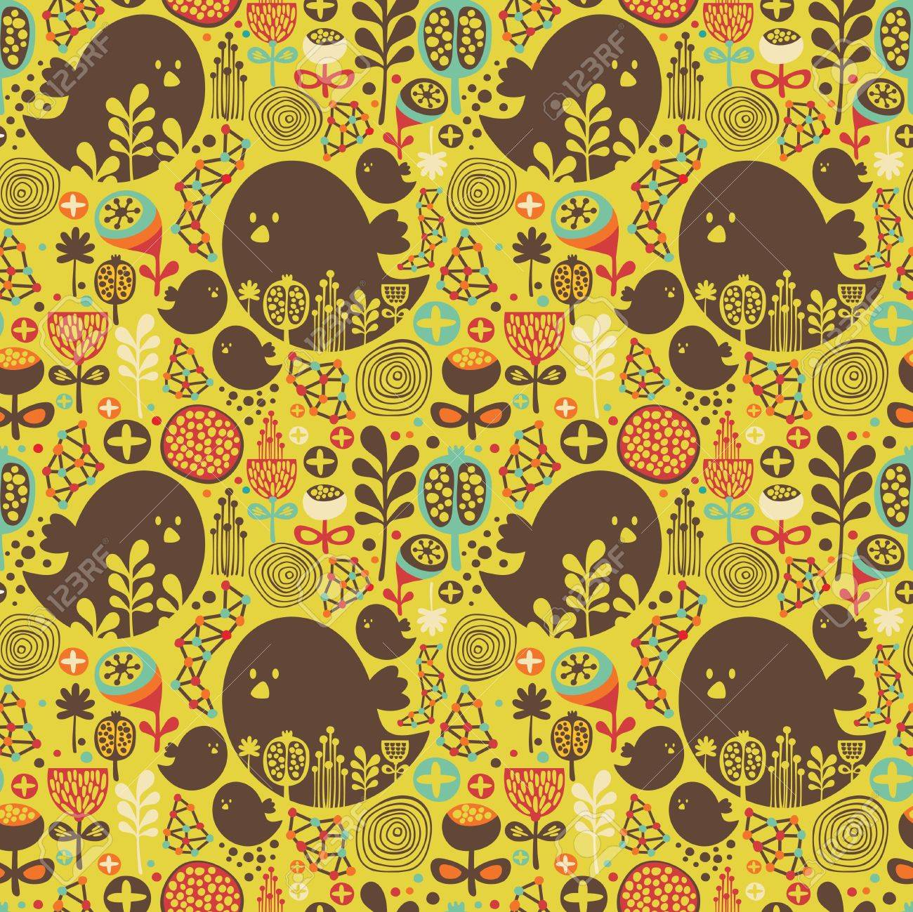 Seamless pattern with birds, flowers and geometric elements illustration Stock Vector - 21418696