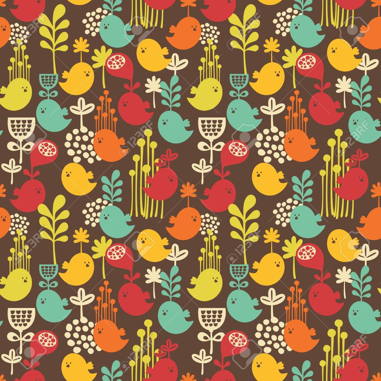 Seamless pattern with cartoon birds background of nature Stock Vector - 21419956