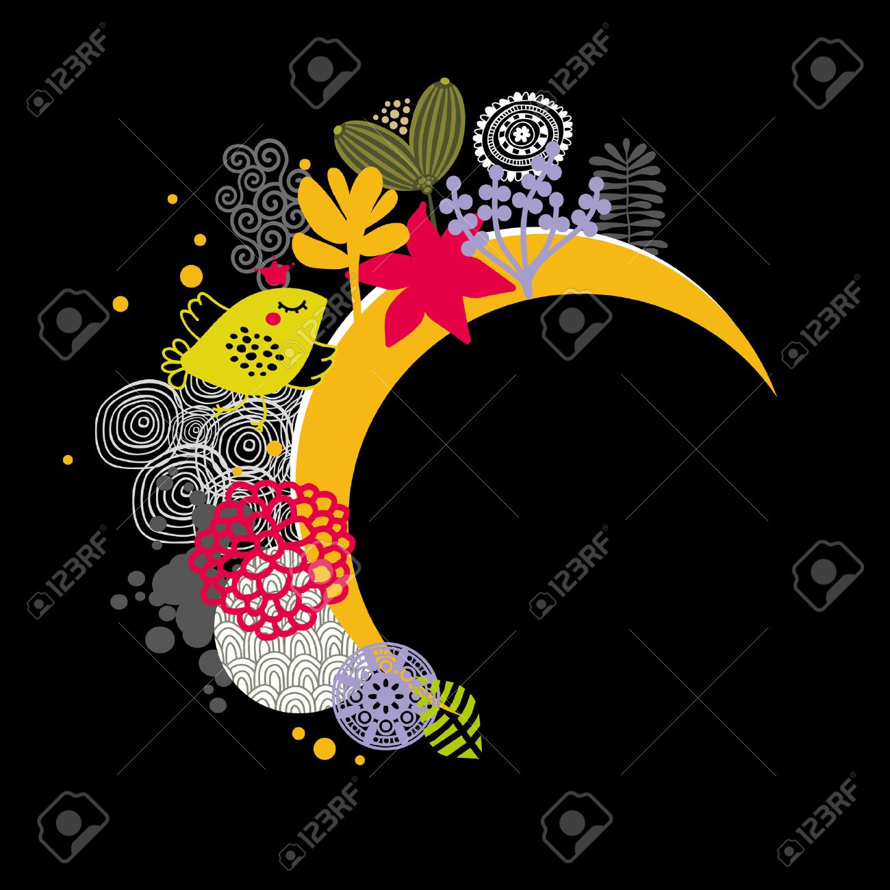 Good Night Banner Vector Illustration With Birds And Flowers Stock