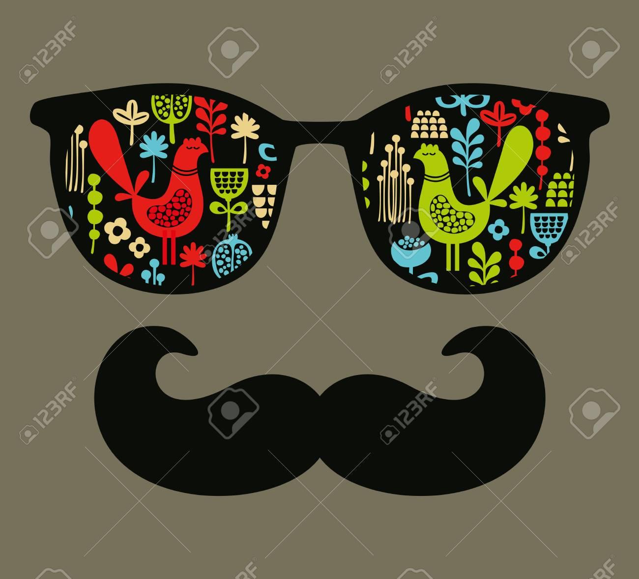 fb482520065a72 Retro Sonnenbrille mit Reflexion für Hipster. Vektor-Illustration von  Zubehör - Brillen isoliert.