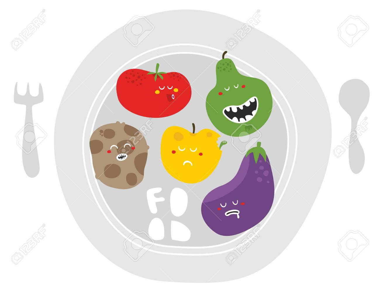 Crazy fruits and vegetables on the plate. Vector illustration. Stock Illustration - 26796269