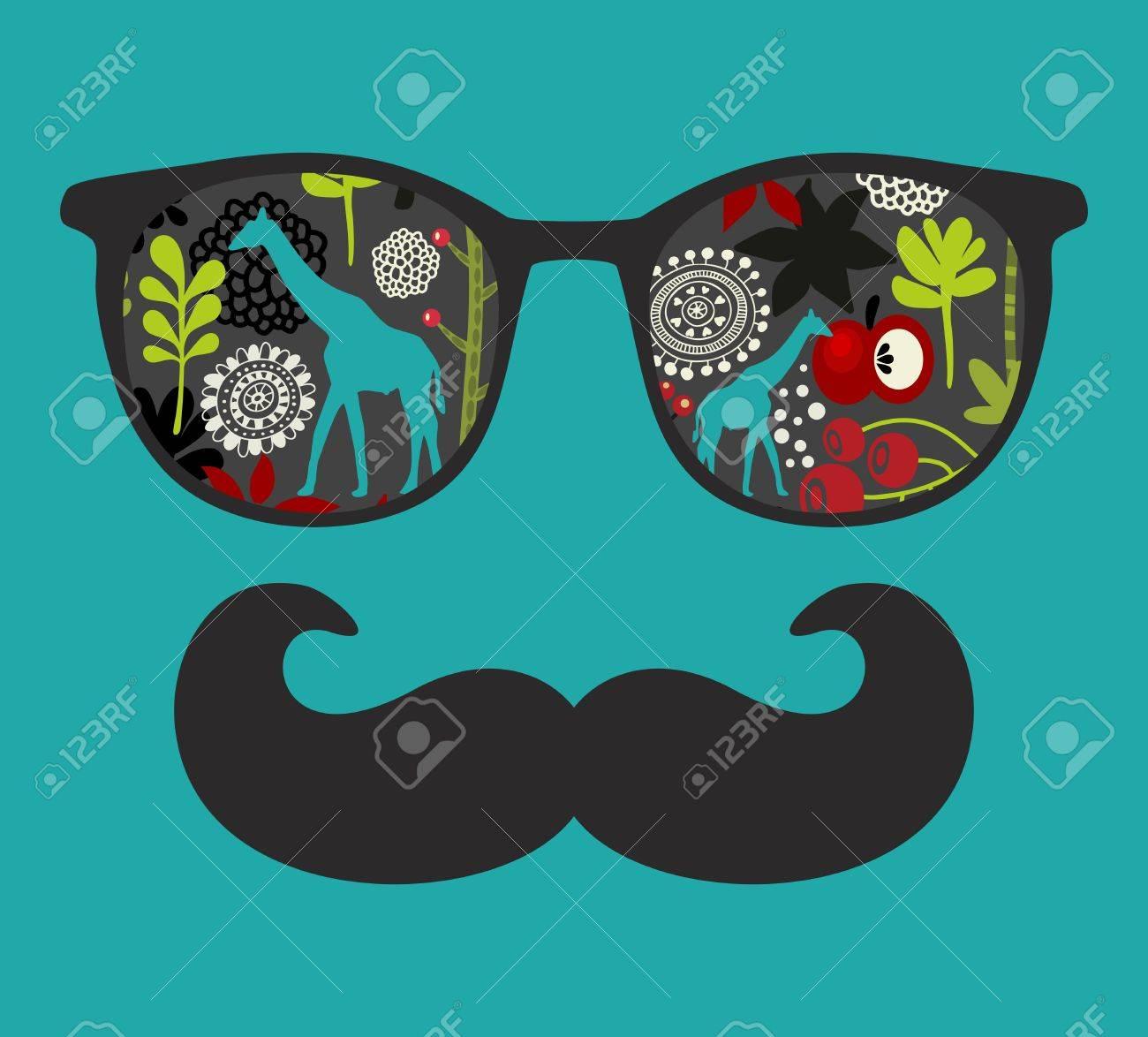 424d8aa3836822 Retro-Sonnenbrille mit Reflexion für Hüfthosen. Vektor-Illustration von  Zubehör - Brille isoliert