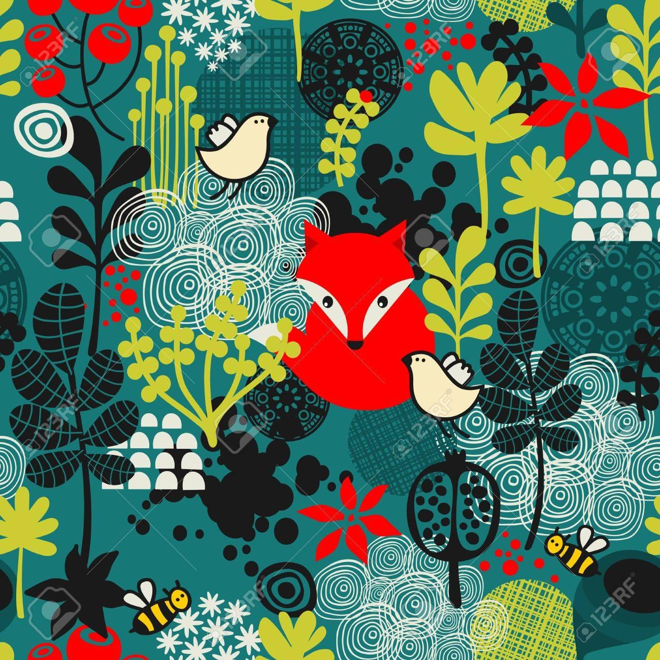 Birds, fox and flowers seamless pattern. Vector texture. - 27886520