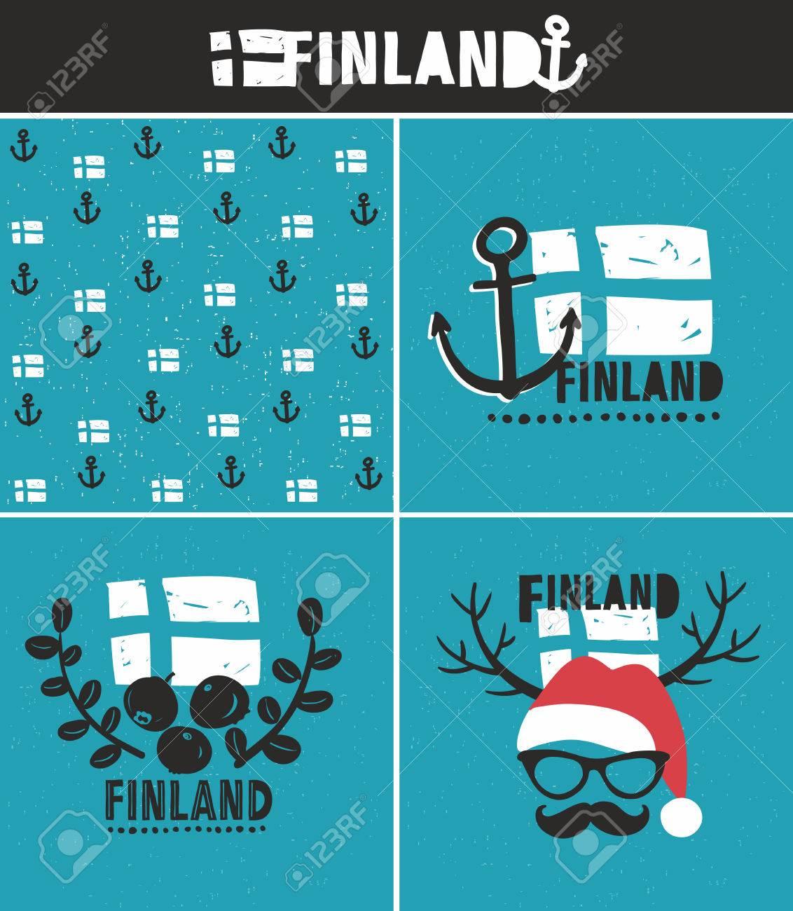 Set of labels vector illustration of symbols of finland royalty set of labels vector illustration of symbols of finland stock vector 52587357 buycottarizona