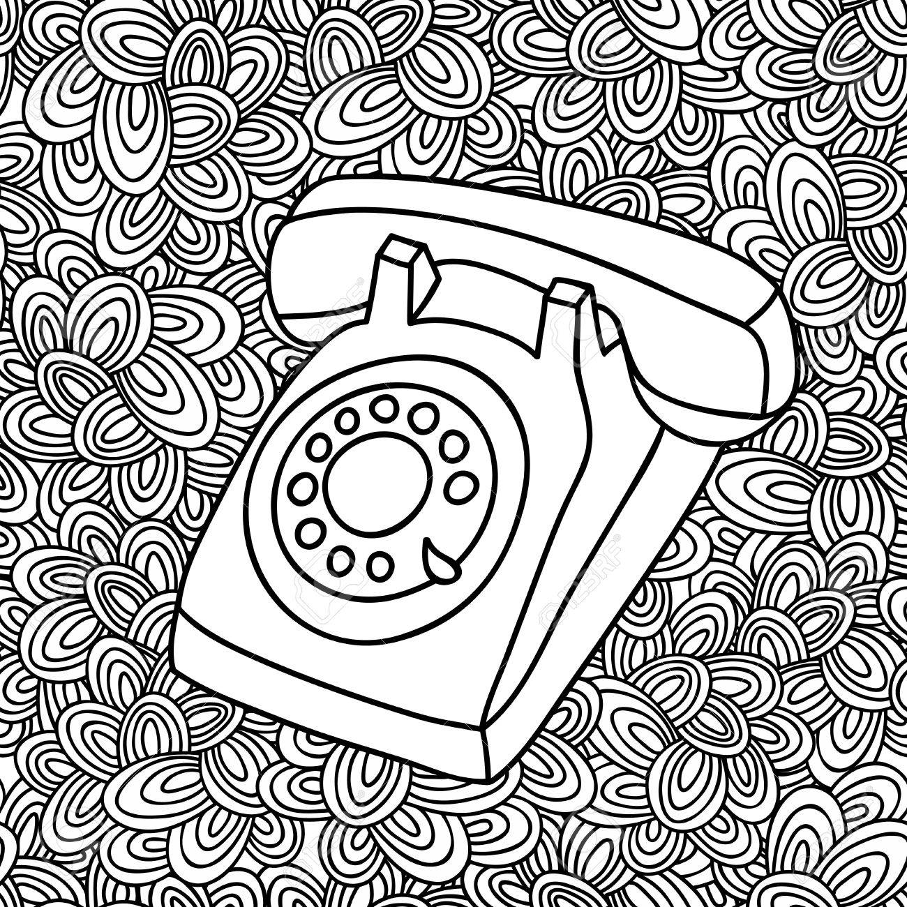Hand Drawing Old Phone Vintage Telephone Illustration In Vector On The Artistic Background Stock