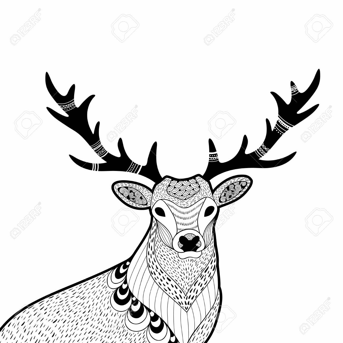 Ilustración Creativa Del Doodle De Ciervos Salvajes, Dibujado A Mano ...