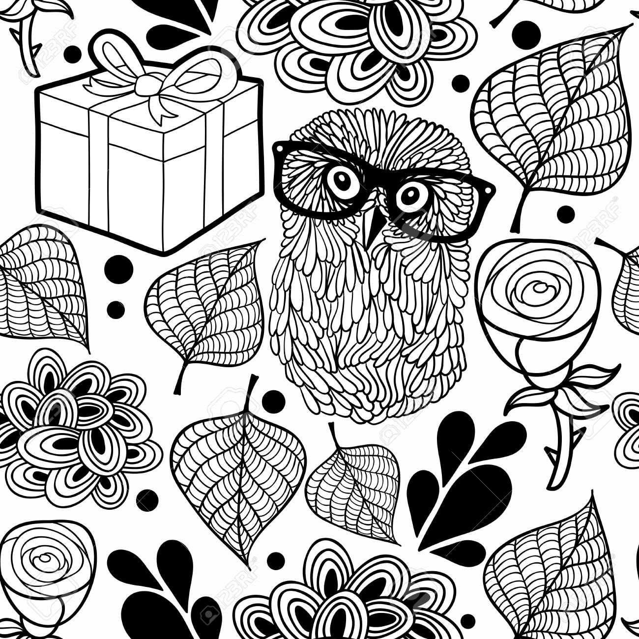 Black And White Pattern With Owl And Gifts. Vector Background ...