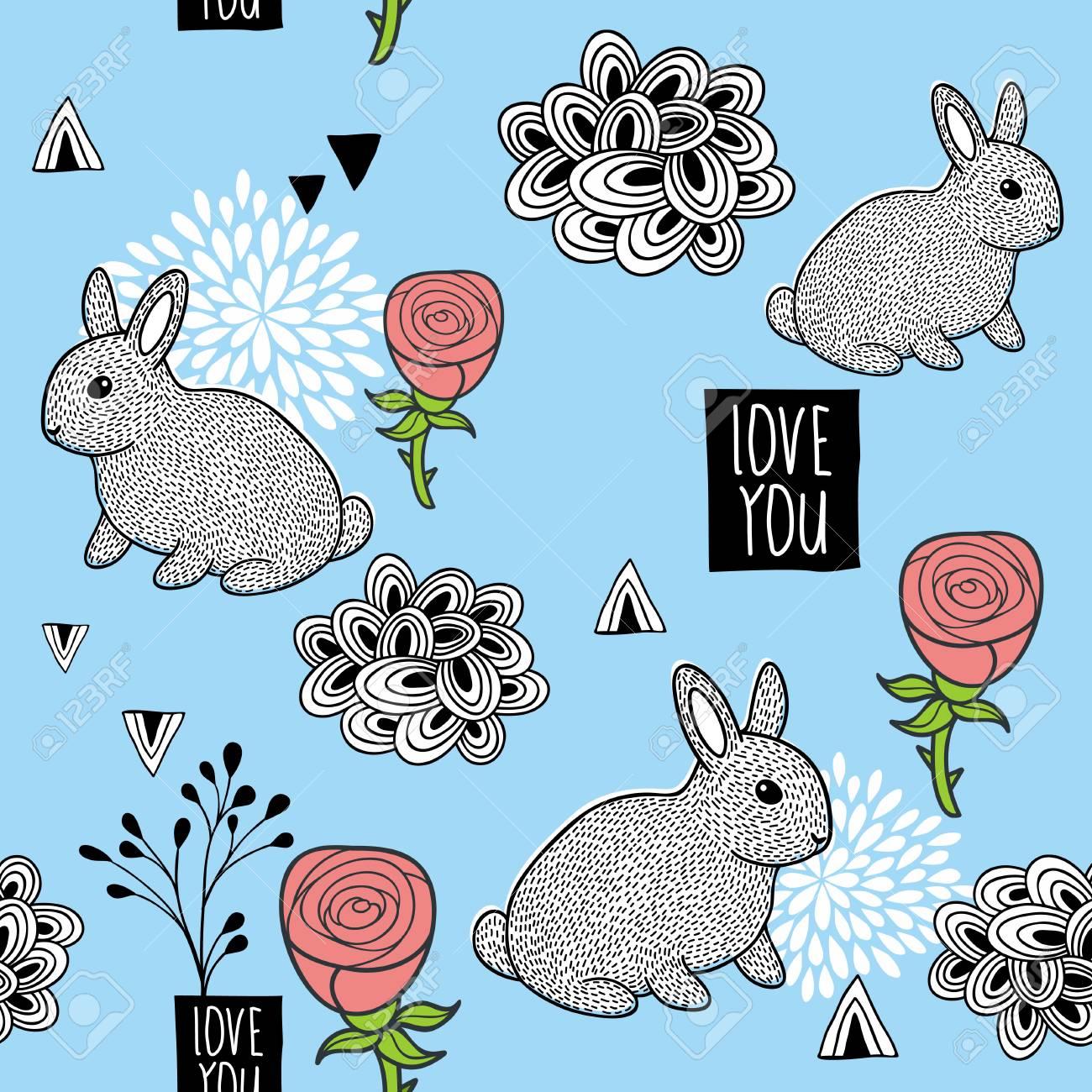 バラのウサギ 包装紙 ファブリック 壁紙 かわいい動物とシームレスな背景は ベクトルの背景 のイラスト素材 ベクタ Image