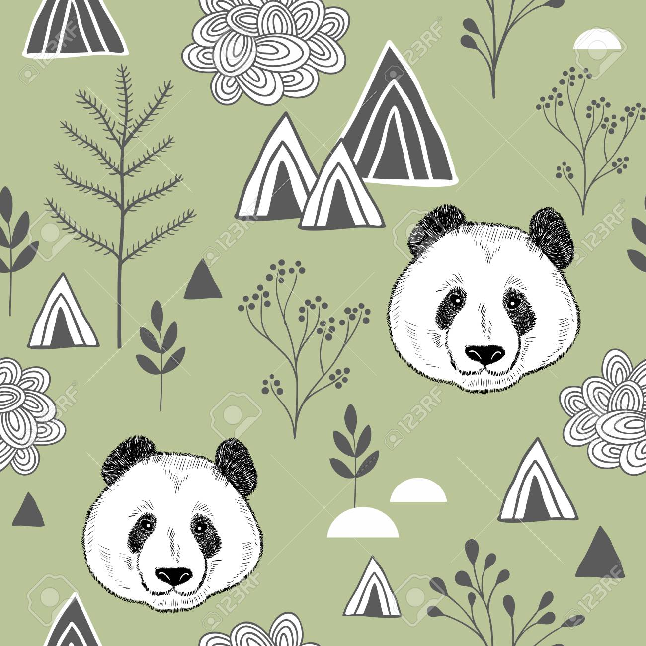 Colorful seamless pattern with cute chinese bear. Wallpaper with panda. Vector illustration for children