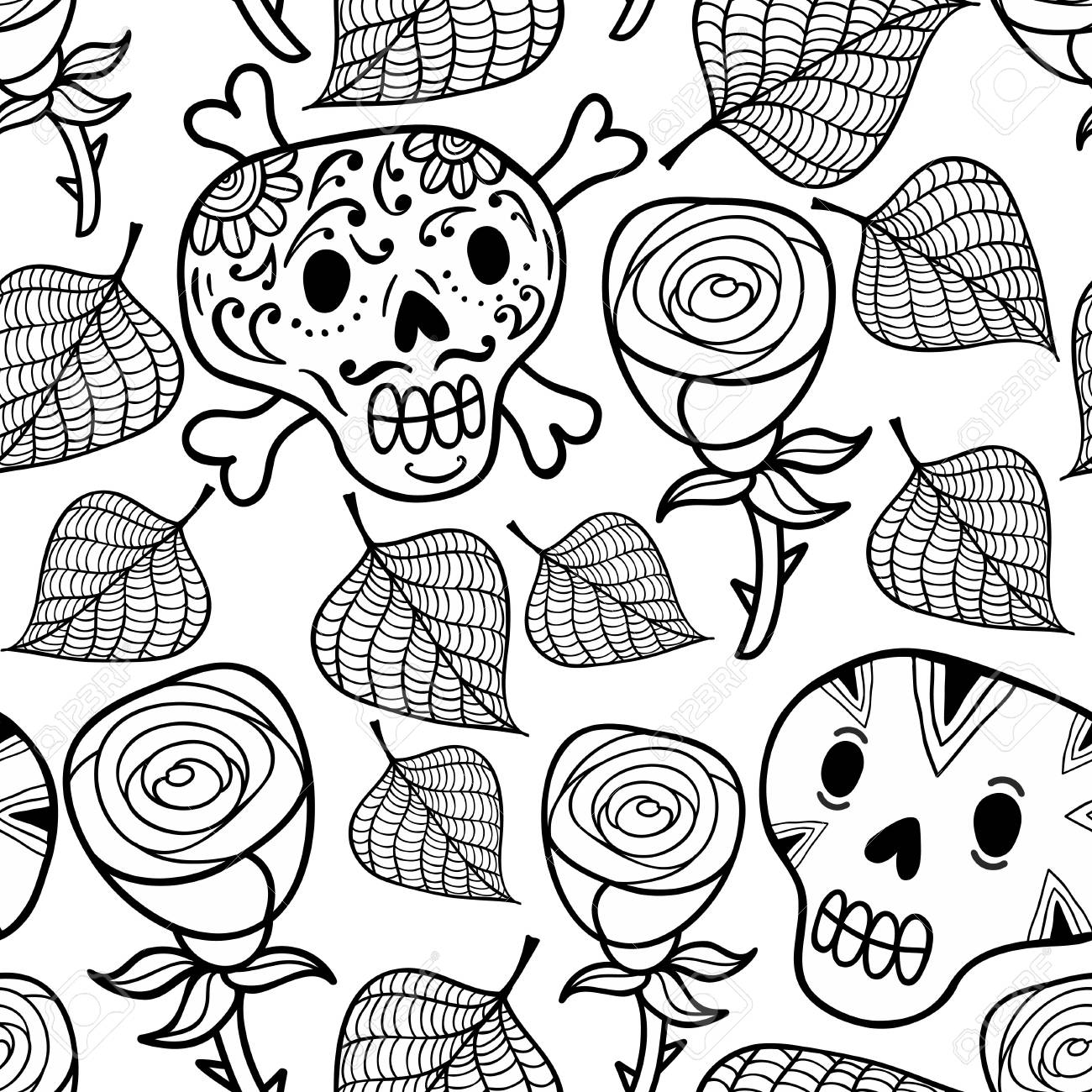 Black And White Seamless Illustration With Roses And Sugar Skulls