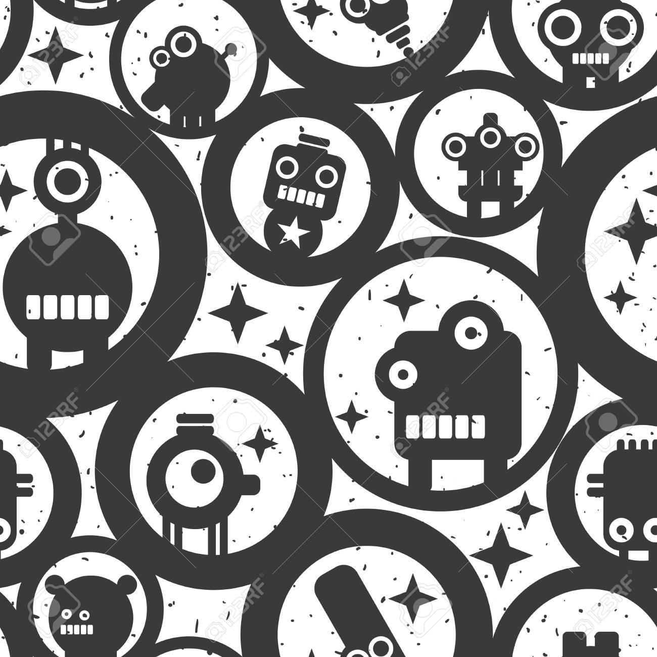 無限の壁紙かわいいモンスター ロボットと円 の写真素材 画像素材 Image 0399