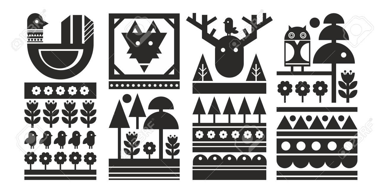 6f0c667ff9 Set of black and white scandinavian prints. Vector monochrome background.  Stock Photo - 105592755