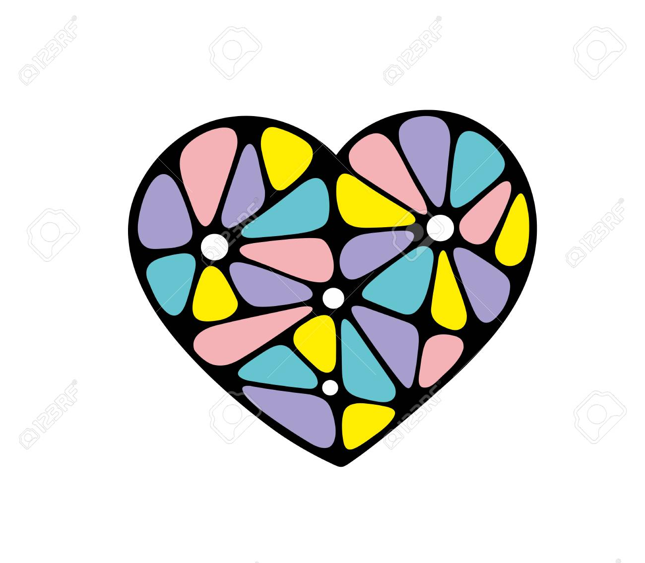 Coloful abstract heart made of different glasses. Vector creative image. - 110466124