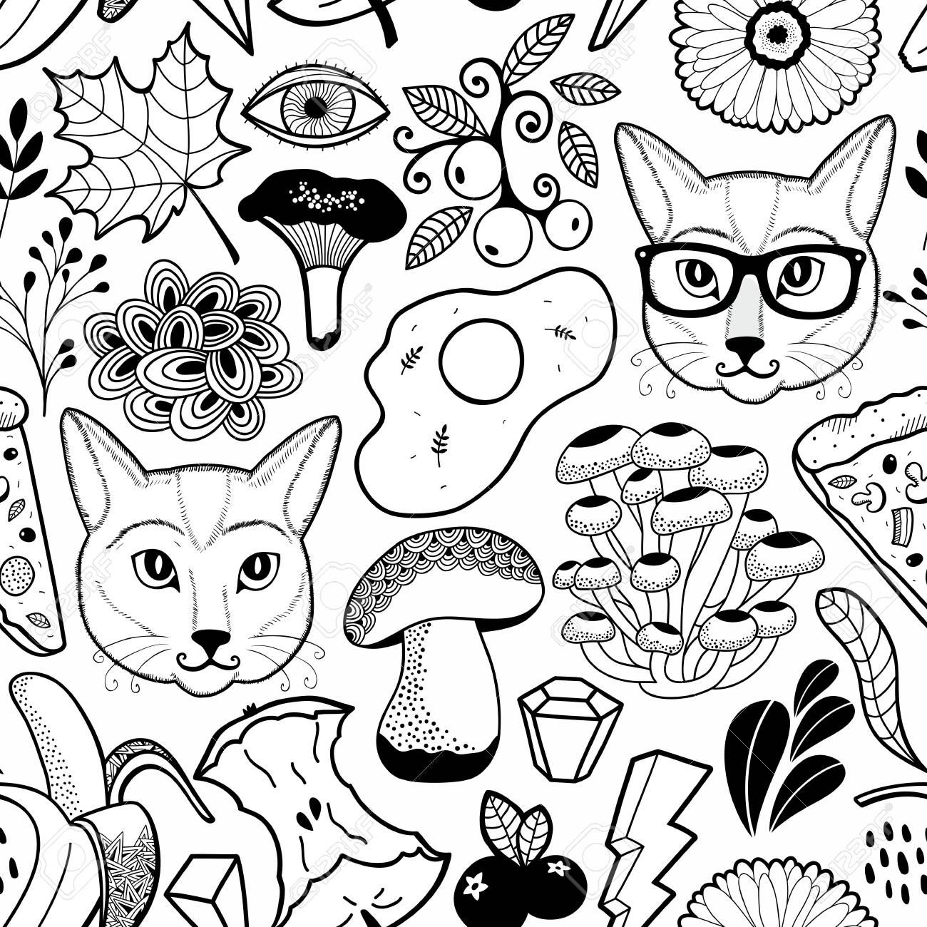 Black And White Endless Wallpaper With Hipster Cats And Autumn Royalty Free Cliparts Vectors And Stock Illustration Image 125828380,Valentines Decoration Ideas