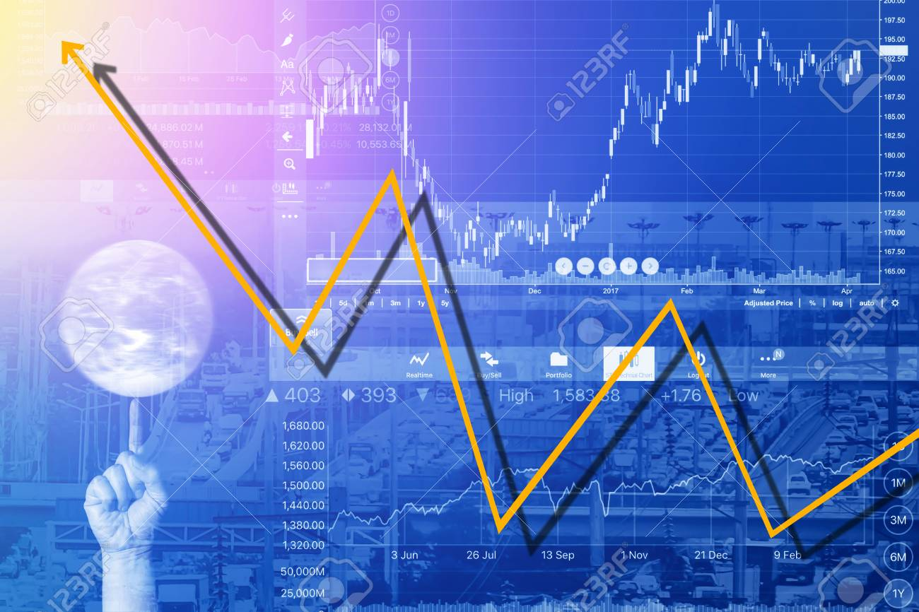 economic problems and business crisis with graph background stock