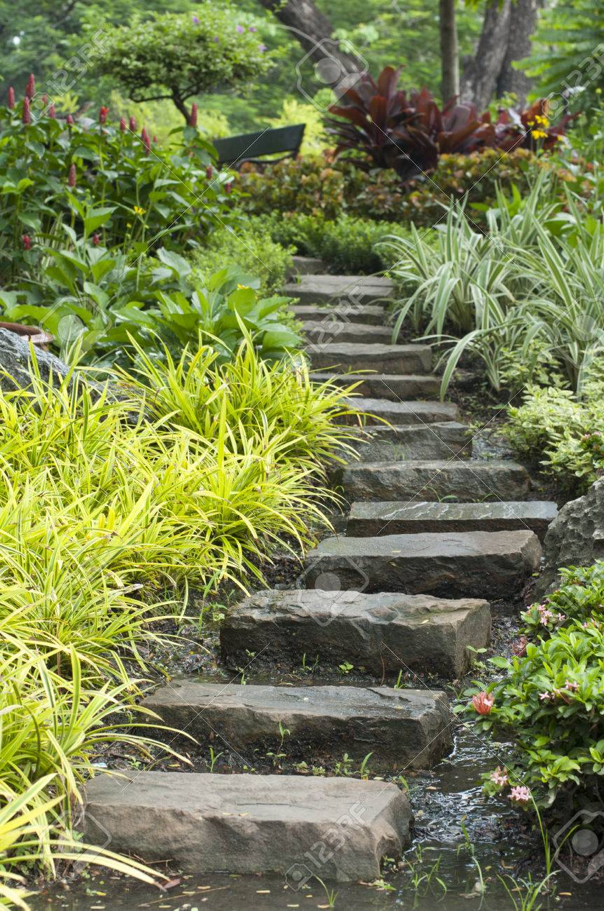 High Quality Natural Stone Stairs Landscaping In Home Garden Stock Photo   32556580