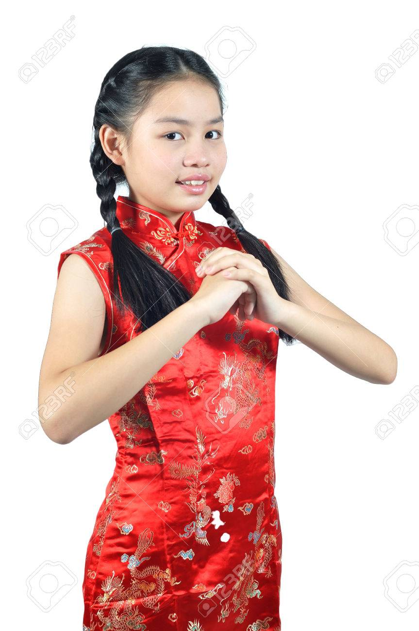 e93a2169a Asia Female Teenager Wear Red Suit Pose For Chinese New Year.. Stock ...