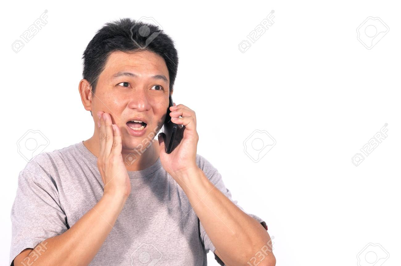 Old asian man surprise