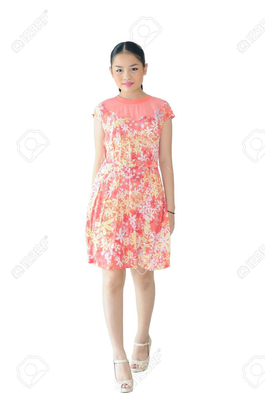 1cc90f39429 Asian teenager girl 13 years old post like model with summer short dress on  white background