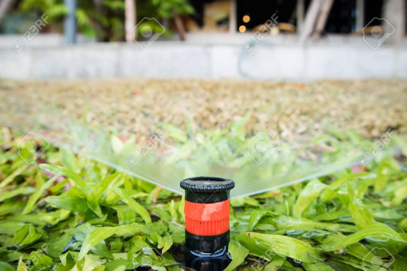 Rasen Sprinkler Automatische Bewasserung Grunen Hof Lizenzfreie