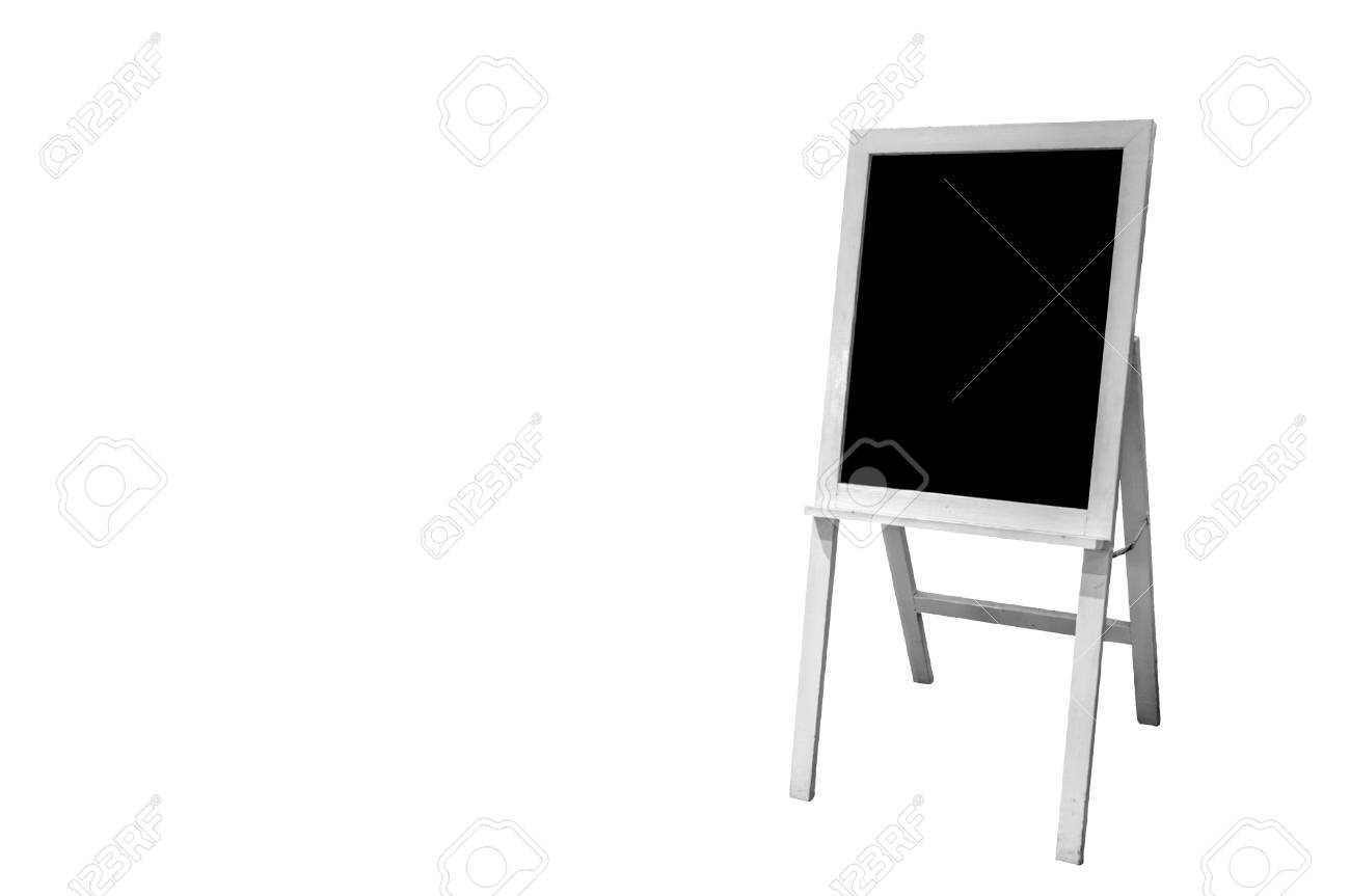White Standing Wooden Menu Frame Board With Clipping Path. Stock ...