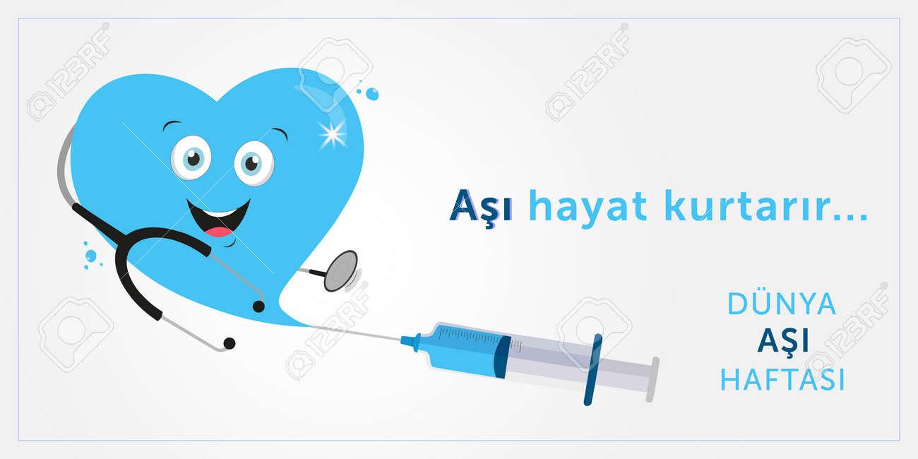 Vaccination week, vaccine saves lives design. Translate: Vaccination week, vaccine save lives. Vector illustration. - 167062276