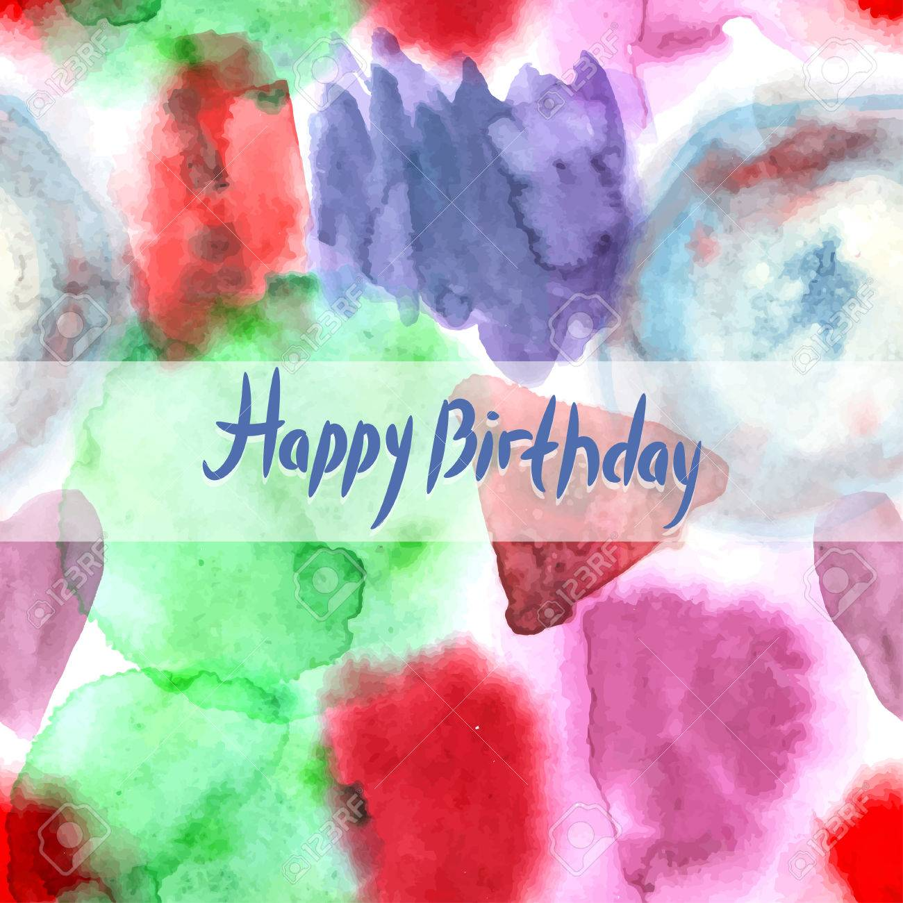 Happy Birthday Card Abstract Watercolor Art Hand Paint Pattern On White Background Stock Vector