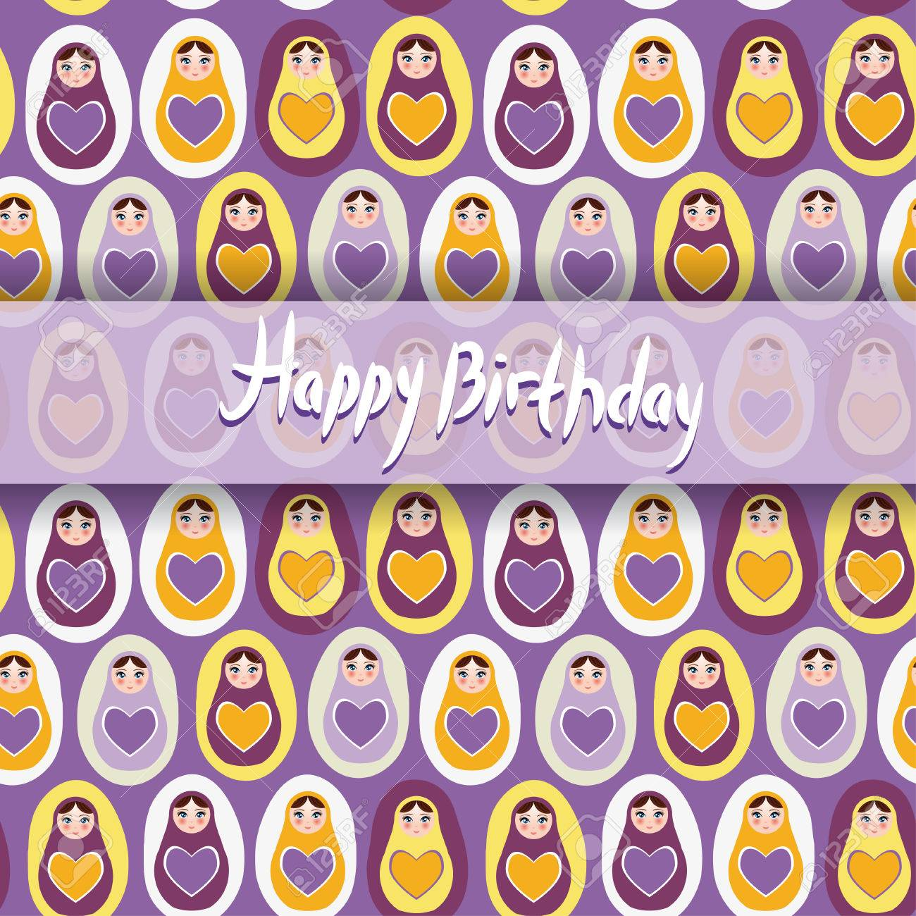 Happy Birthday Card Pattern Orange Russian Dolls Matryoshka On A Purple Background Stock Vector